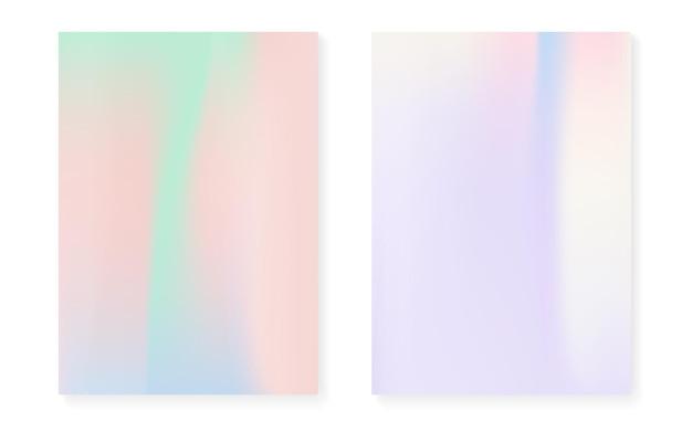 Holografische omslagset met hologramverloopachtergrond. retro-stijl uit de jaren 90, 80. iriserende grafische sjabloon voor flyer, poster, banner, mobiele app. heldere minimale holografische omslag.
