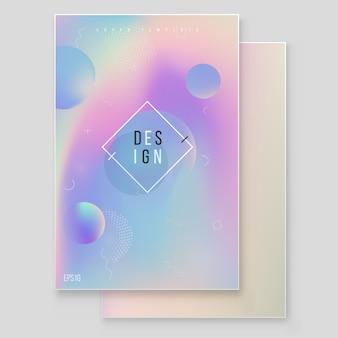 Holografische papier magische folie marmeren cover vector set. minimalistisch hipsterontwerp iriserende afbeelding voor brochure, banner, behang, mobiel scherm