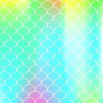 Holografische schaal achtergrond met kleurovergang zeemeermin.