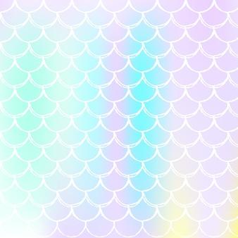 Holografische schaal achtergrond met kleurovergang zeemeermin