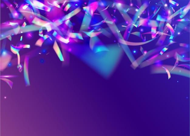 Holografische schitteringen. fantasie folie. vallende achtergrond. metalen ontwerp. blauwe laserklatergoud. glamour kunst. transparante textuur. disco vieren behang. roze holografische schitteringen