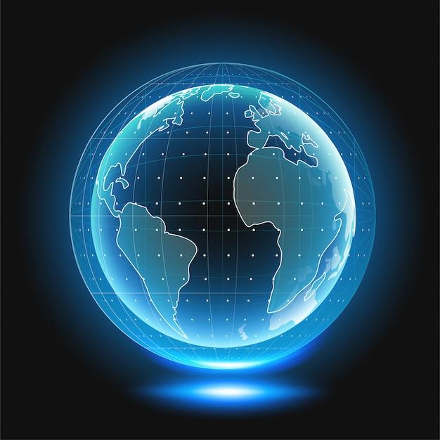 Holografische wereldbol met continenten.