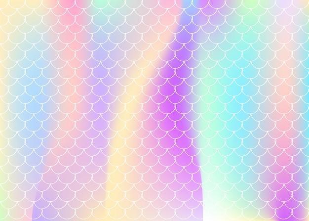 Holografische zeemeermin achtergrond met kleurovergang schalen.