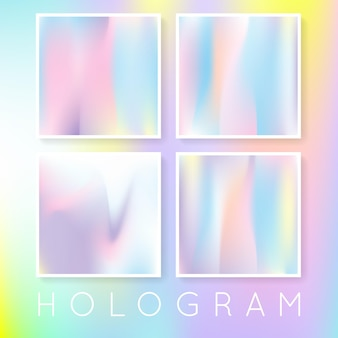 Hologram abstracte achtergronden instellen. multicolor gradiëntachtergrond met hologram. retro-stijl uit de jaren 90, 80. parelmoer grafische sjabloon voor brochure, flyer, poster, behang, mobiel scherm.