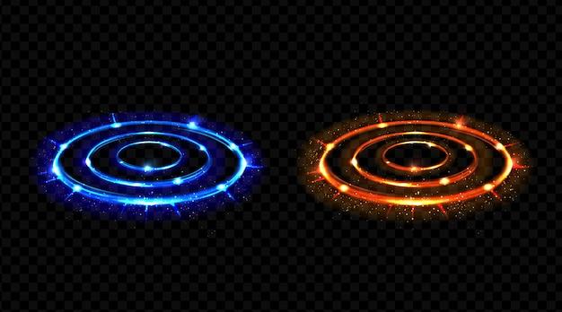 Hologram-effect versus cirkels. neon versus ronde stralen