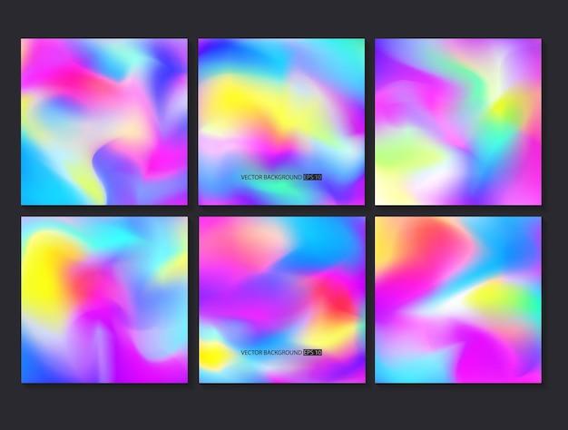 Hologram heldere kleurrijke set. mesh-sjabloon.