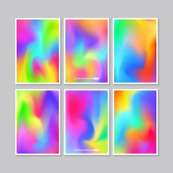 Hologram heldere kleurrijke set mesh sjabloonontwerp