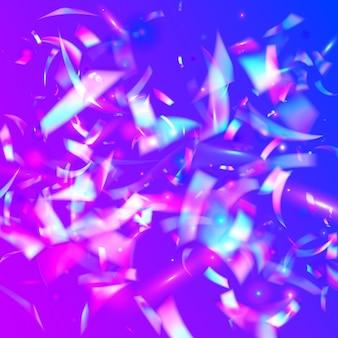 Hologram schittert. partij ontwerp. moderne kunst. vliegende folie. iriserende textuur. retro prismatisch verloop. transparante confetti. roze glanzende glitter. paars hologram schittert