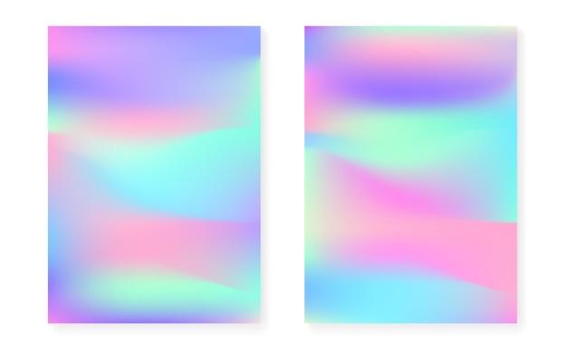 Hologram verloop achtergrond instellen met holografische dekking. retro-stijl uit de jaren 90, 80. iriserende grafische sjabloon voor brochure, banner, behang, mobiel scherm. creatief minimaal hologramverloop.