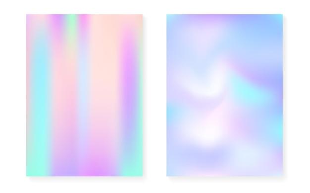 Hologram verloop achtergrond instellen met holografische dekking. retro-stijl uit de jaren 90, 80. parelmoer grafische sjabloon voor brochure, banner, behang, mobiel scherm. neon minimale hologram verloop.