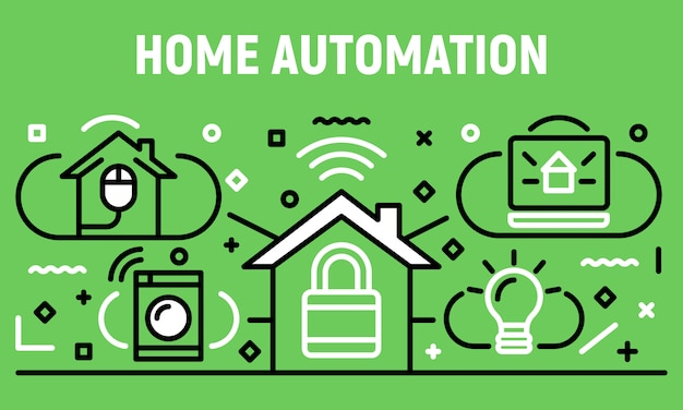 Home automation banner, outline style