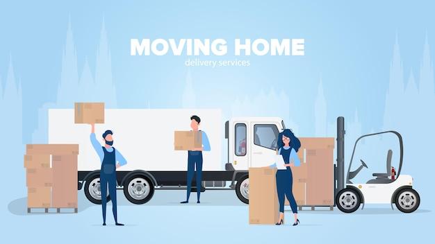 Home banner verplaatsen. verhuizen naar een nieuwe plek. witte vrachtwagen