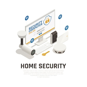 Home beveiligingssjabloon met videobewakingssysteem en brandalarm online werken via wifi-service