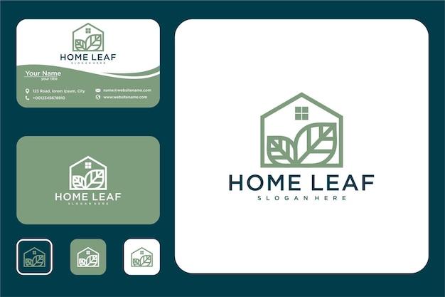 Home blad lijntekeningen logo ontwerp en visitekaartje