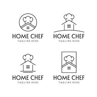Home chef-kok logo set mono lijnstijl