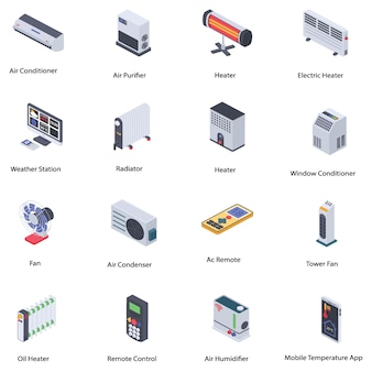 Home climate control icons pack