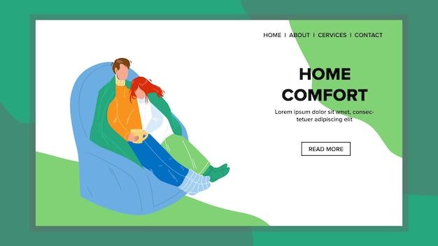 Home comfort en vrije tijd hebben familie vector. jonge man en vrouw paar ontspannen in comfortabele fauteuil, home comfort en rusten. tekens genieten web platte cartoon afbeelding