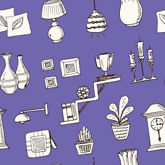 Home decor hand getrokken doodle naadloze patroon