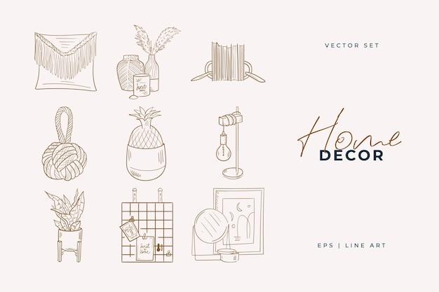 Home decor lijntekeningen tekening. doodle illustratie