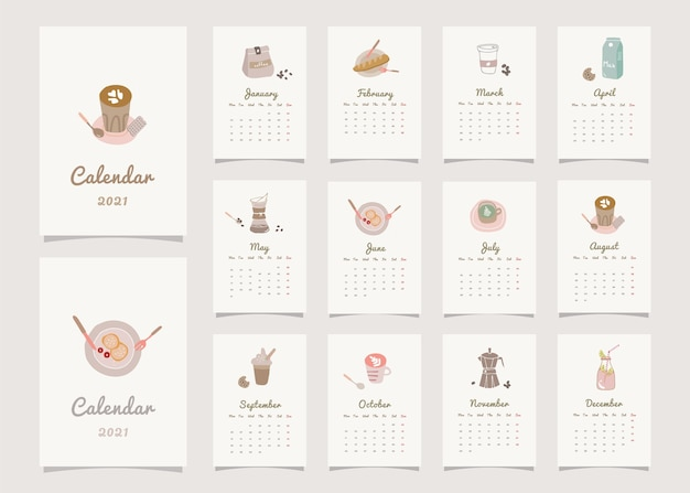 Home decor planner kalender met koffie thema.
