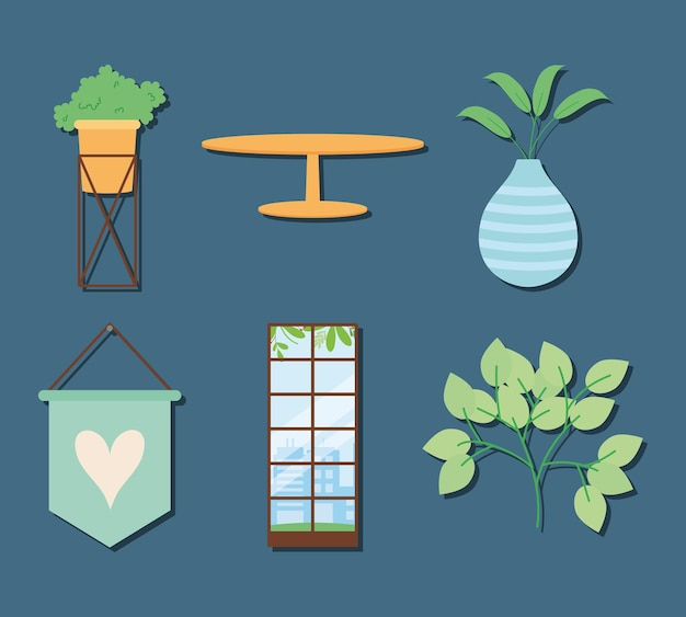 Home decoratie objecten icon set