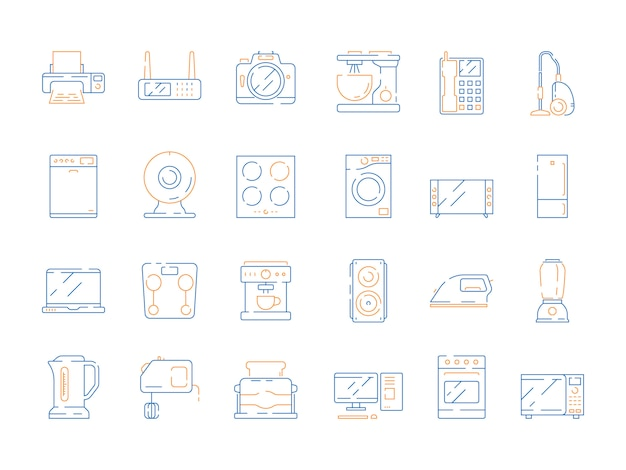 Home elektrische pictogrammen. huishoudelijke apparatuur moderne apparatuur magnetron computer gadgets koelkast tv vector gekleurde dunne symbolen