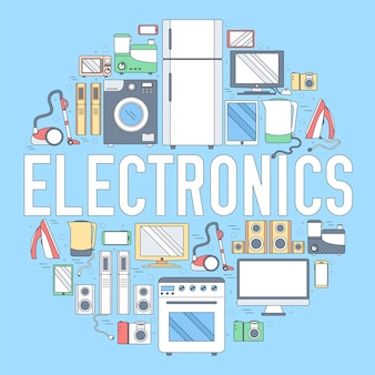 Home-elektronica toestellen cirkel infographics sjabloon concept