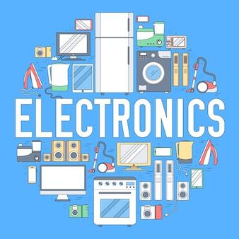 Home-elektronica toestellen cirkel infographics sjabloon. pictogrammen voor uw product of toepassingen.