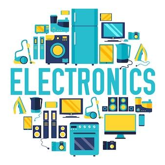 Home-elektronica toestellen cirkel infographics sjabloon