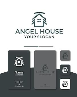 Home engel logo ontwerp huis dak vleugel vlieg
