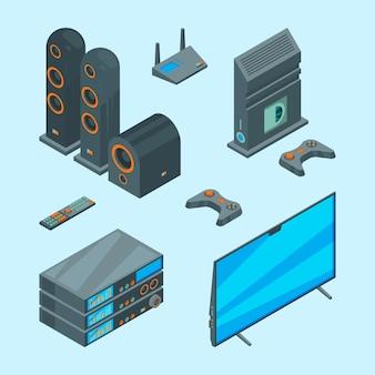 Home entertainment. isometrische console voor games tv laptop audio speakers theater computer foto's