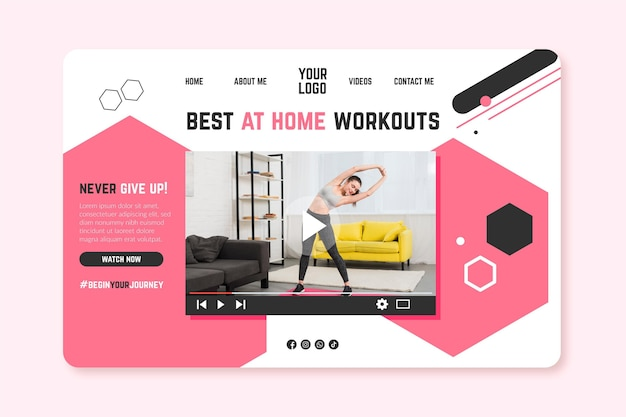 Home fitness banner sjabloon