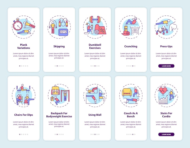 Home fitness online onboarding mobiele app paginascherm met concepten ingesteld. alternatieven voor gymnastiekoefeningen doorloop 5 stappen ui-sjabloon met rgb-kleurenillustraties