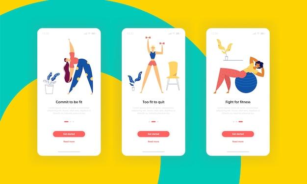 Home fitness sport activiteit schermenset mobiele app