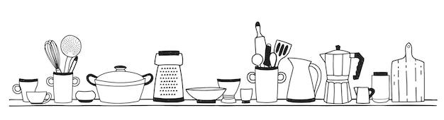 Home keukengerei om te koken, gereedschappen voor voedselbereiding of kookgerei staande op plank hand getrokken