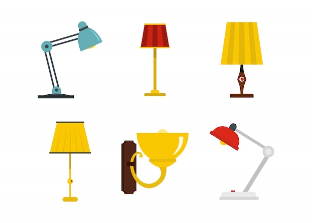 Home lamp pictogramserie. platte set van huis lamp vector iconen collectie geïsoleerd