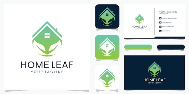 Home leaf logo abstract voor logo en visitekaartje.