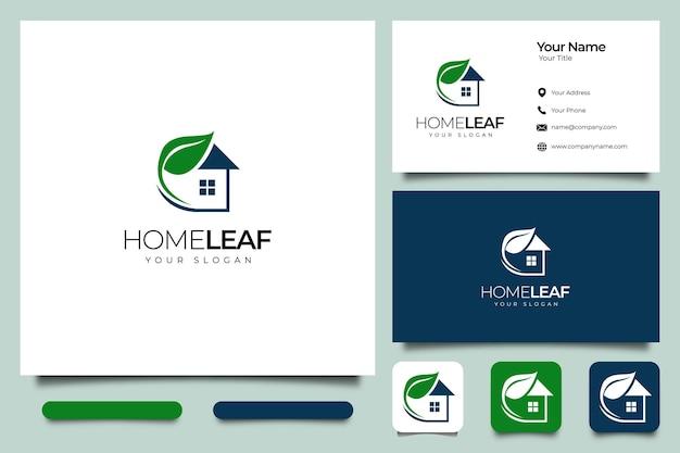 Home leaf logo creatief ontwerp en visitekaartjesjabloon