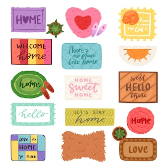Home mat vector welkom deurmat voor huisingang en deuropening matten kleed voor bezoekers illustratie huishouden set thuiskomst enter decoratie geïsoleerd op witte achtergrond