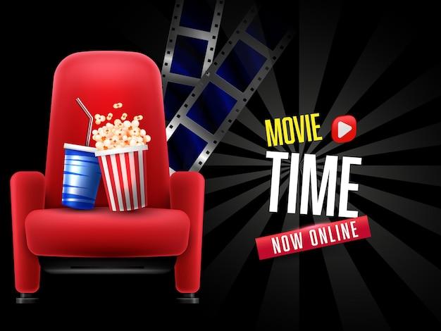 Home movie banner met popcorn