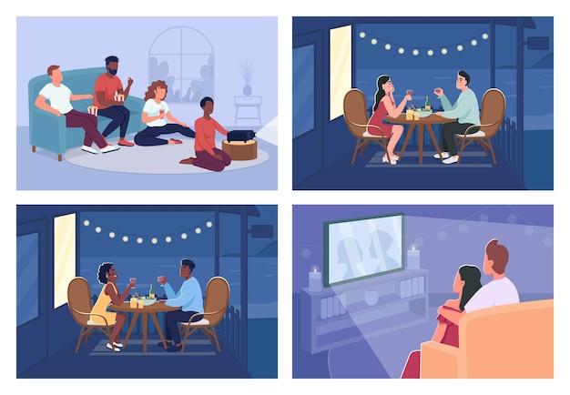 Home ontspanning egale kleur vector illustratie set. romantisch diner. filmmarathon. vrienden en koppels 2d-stripfiguren met binnen- en buitenruimte op achtergrondcollectie