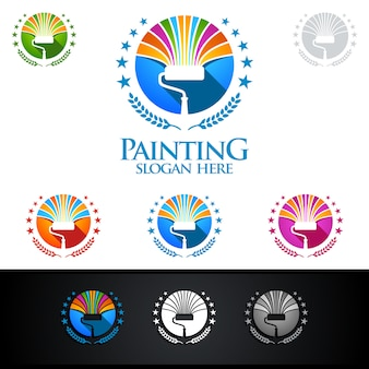 Home painting-logo met penseel en huisconcept