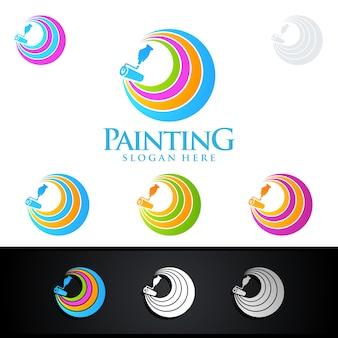Home painting-logo met penseel en kleurrijke cirkel concept