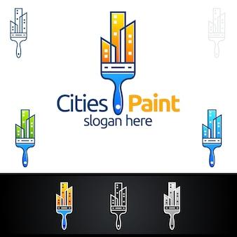 Home painting-logo met penseel en onroerend goed concept