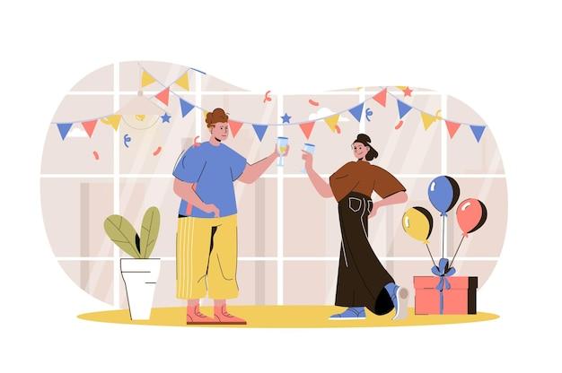 Home party webconcept man en vrouw vieren vakantie drinken veel plezier op feestelijke gebeurtenis