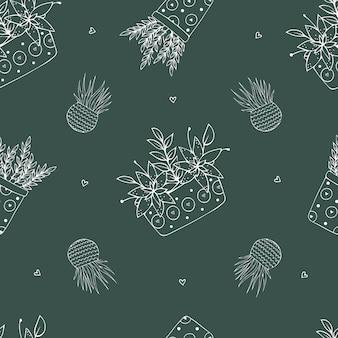 Home planten. naadloos patroon met verschillende kamerplanten. lijn.