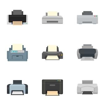 Home printer icon set, vlakke stijl