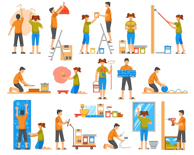 Home renovatie flat color decoratieve pictogrammen
