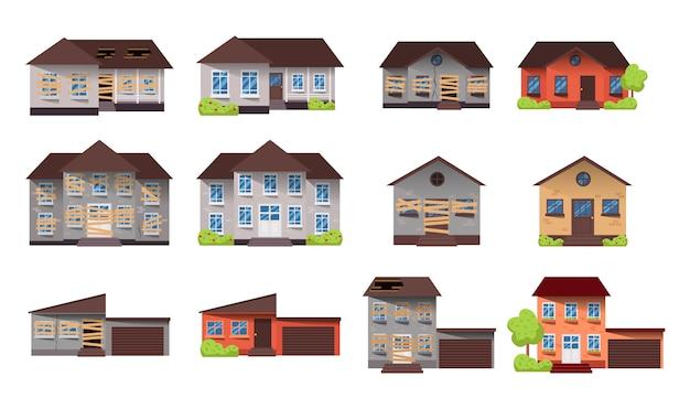 Home renovatie. huis voor en na reparatie. nieuw en oud huisje in de voorsteden. verbouw het gebouw.