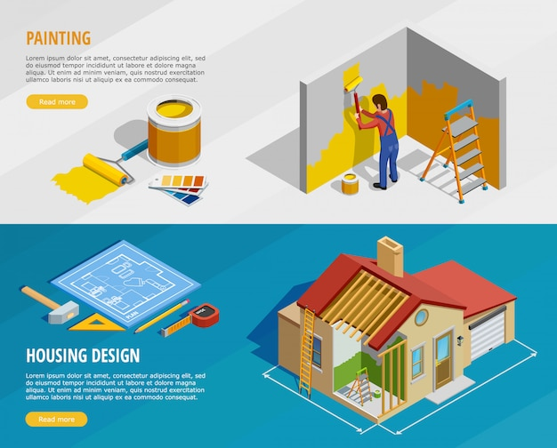 Home renovatie isometrische horizontale banners